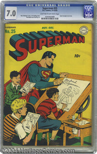 Superman #25 (DC, 1943) CGC FN/VF 7.0 Light tan to off-white pages. Fred Ray penciled a number of Superman covers, but t...
