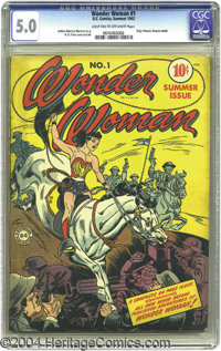 Wonder Woman #1 (DC, 1942) CGC VG/FN 5.0 Light tan to off-white pages. Wonder Woman charges onto the scene in the first...