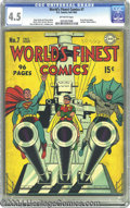 Golden Age (1938-1955):Superhero, World's Finest Comics #7 (DC, 1942) CGC VG+ 4.5 Off-white pages. This patriotic cover shows Superman, Batman, and Robin ridi...