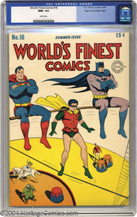World's Finest Comics #18 Mile High pedigree (DC, 1945) CGC NM+ 9.6 White pages. Jack Burnley drew this issue's not so d...