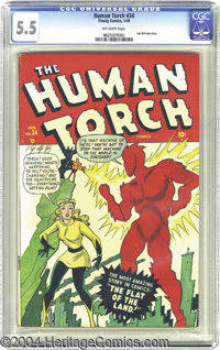 The Human Torch #34 (Timely, 1949) CGC FN- 5.5 Off-white pages. Some attribute this cover to Ken Bald, others to Mike Se...