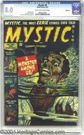 "Golden Age (1938-1955):Horror, Mystic #8 Bethlehem pedigree (Atlas, 1952) CGC VF 8.0 Cream tooff-white pages. This may not actually qualify as an ""underwa..."