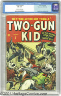 Golden Age (1938-1955):Western, Two-Gun Kid #3 Mile High pedigree (Atlas, 1948) CGC NM 9.4Off-white to white pages This third issue bears an action-packed...