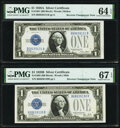 Small Size:Silver Certificates, Fr. 1602/1601 $1 1928B/1928A Silver Certificates. Reverse Changeover Pair. PMG Graded Superb Gem Unc 67 EPQ; Choice Uncirculat... (Total: 2 notes)