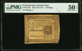 Colonial Notes:Pennsylvania, Pennsylvania March 20, 1773 6 Shillings Fr. PA-160 PMG About Uncirculated 50 EPQ.. ...