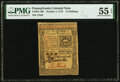 Colonial Notes:Pennsylvania, Pennsylvania October 1, 1773 15 Shillings Fr. PA-168 PMG About Uncirculated 55 EPQ.. ...