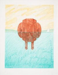 Claes Oldenburg (b. 1929) Floating Three-Way Plug, 1976 Etching and aquatint with spitbite in colors