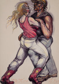 Luis Jimenez (1940-2006) Raunchy Couple, 1984 Lithograph with hand coloring on wove paper 47 x 34