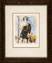 Marc Chagall (1887-1985) Young shepherd Joseph, pl.18, from the Bible series, 1958 Etchin