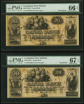 Obsoletes By State:Louisiana, New Orleans, LA-Canal Bank $20 18__ Remainder PMG Gem Uncirculated 66 EPQ;. New Orleans, LA-Canal Bank $20 18__ Rema... (Total: 2 notes)