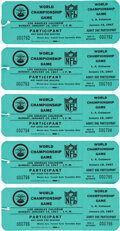 Football Collectibles:Tickets, 1967 Super Bowl I Unused Participant's Passes Lot of 5. ...