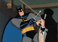 Animation Art:Production Cel, Batman: The Animated Series Batman vs The Penguin Production Cel and Key Master Background (Warner Brothers, 1...