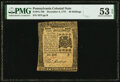 Colonial Notes:Pennsylvania, Pennsylvania December 8, 1775 40 Shillings Fr. PA-196 PMG About Uncirculated 53 EPQ.. ...