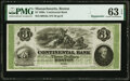 Boston, MA- Continental Bank $3 Oct. __ 18__ Remainder G6a PMG Choice Uncirculated 63 EPQ