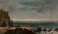Paintings, Continental School (19th Century). Coastal scene on a December's day, 1826. Oil on panel . 7-1/4 x 12-1/8 inches (18.4 x...