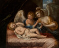 Paintings, Manner of Carlo Maratta (Italian, 1625-1713). The Infant Christ Sleeping, Attended by Angels. Oil on canvas. 17 x 21 inc...