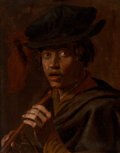 Paintings, Continental School (19th Century). The Musician. Oil on canvas. 25-1/4 x 19-5/8 inches (64.1 x 49.8 cm). ...