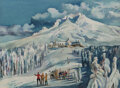 Paintings, Millard Sheets (American, 1907-1989). Skiers at Mount Hood. Watercolor on paper. 21-1/2 x 29-1/2 inches (54.6 x 74.9 cm)...
