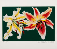 Lowell Nesbitt (American, 1933-1993) Two Spotted Lilies, 1979 Offset lithograph and screenprint in colors on wove pape...