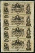 Obsoletes By State:Louisiana, New Orleans, LA- Canal Bank $50-$50-$50-$50 18__ Uncut Sheet Crisp Uncirculated.. ...