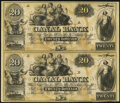 Obsoletes By State:Louisiana, New Orleans, LA- Canal Bank $20-$20 18__ Remainder Uncut Pair Crisp Uncirculated.. ...