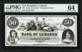 Obsoletes By State:New Hampshire, Lebanon, NH- Bank of Lebanon $50 18__ as G50 Proprietary Proof PMG Choice Uncirculated 64.. ...