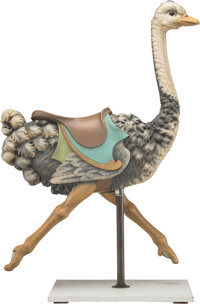 A Fine and Rare Gustav Dentzel Carved and Painted Wood Carousel Ostrich Possibly from the Grant Park Carousel, Atlanta...