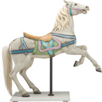 A Fine and Rare Gustav Dentzel Carved and Painted Wood Center Row Prancing Carousel Horse Possibly from the Grant Park C...