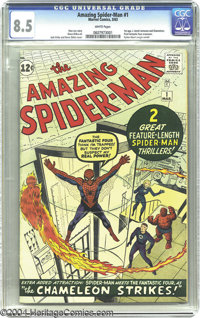 The Amazing Spider-Man #1 (Marvel, 1963) CGC VF+ 8.5 White pages. Here's a drop-dead gorgeous specimen of what is not on...