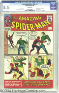 Silver Age (1956-1969):Superhero, The Amazing Spider-Man #4 (Marvel, 1963) CGC VF+ 8.5 White pages. It's no day at the beach for Spidey in his first encounter...