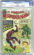 Silver Age (1956-1969):Superhero, The Amazing Spider-Man #5 (Marvel, 1963) CGC NM- 9.2 White pages.Doctor Doom makes his first appearance outside of the page...