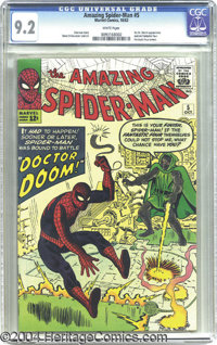 The Amazing Spider-Man #5 (Marvel, 1963) CGC NM- 9.2 White pages. Doctor Doom makes his first appearance outside of the...