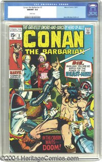 Conan the Barbarian #2 (Marvel, 1970) CGC NM/MT 9.8 White pages. Though reportedly on the verge of cancellation after th...