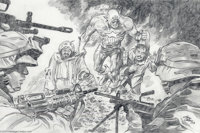 Gene Colan - Captain America Illustration Original Art (2003). Captain America and the U.S. Armed Forces drag Osama and...