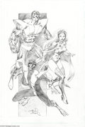 Original Comic Art:Splash Pages, Alan Davis - Colossus, Storm, and Nightcrawler Pin Up Original Art(undated)....
