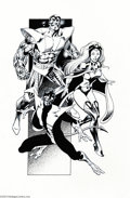 Original Comic Art:Splash Pages, Alan Davis and Robin Riggs - Colossus, Storm, and Nightcrawler Pin Up Original Art (undated)....