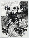 Original Comic Art:Splash Pages, Bob Hall - Conan Pin Up Original Art (2004).. Bob Hall 's vision ofConan the Barbarian battling a feral apparition is beau...