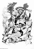 Original Comic Art:Splash Pages, Pablo Marcos - Wolverine and Sabretooth Pin Up Original Art(2004).. Well, we WARNED you not to cross Wolverine! Wow, what ...