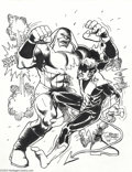 Original Comic Art:Splash Pages, Brian Postman - Nightcrawler and Juggernaut Pin Up Original Art(2004).. Who's afraid of a big bad Juggernaut? Not Nightcra...
