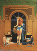 """Original Comic Art:Paintings, Howard Chaykin - Painting Original Art (undated). Howard Chaykin serves up a titillating tableau of """"good girls"""" in this ill..."""