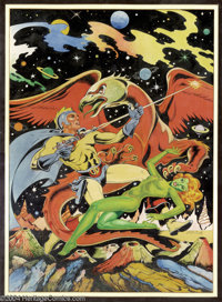 L. B. Cole - Blue Bolt #105 Cover Recreation Original Art (undated). Creator of more than 1500 covers, brilliant wildlif...