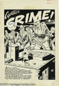 "Original Comic Art:Splash Pages, Johnny Craig - Crime Patrol #7, page 1 Splash Page Original Art(EC, 1948). Captain Crime launches a counter-offensive on ""t..."