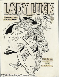 Gill Fox - Lady Luck #88 Cover Original Art (Quality, 1950). Lady Luck certainly knows how to handle guys that try to ge...