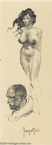 Original Comic Art:Sketches, Frank Frazetta - Nude and Profile Sketches Original Art (undated). Two pen and ink sketches, including a nude female and a m...