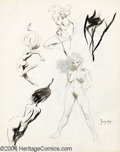 Original Comic Art:Sketches, Frank Frazetta - Nude Sketches Original Art (undated). A spectacular piece for the Frazetta collector, this two-sided sketch...