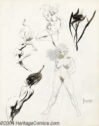 Frank Frazetta - Original Sketches, Nudes (undated). A spectacular piece for the Frazetta collector, this two-sided sket...