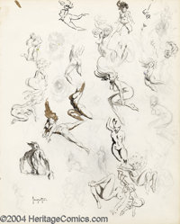 Frank Frazetta - Original Sketches, Multiple Nudes (undated). This exquisite two-sided sketchbook page contains no less...