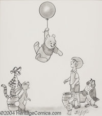 Bill Justice - Walt Disney's Winnie the Pooh Sketch Original Art (undated). Christopher Robin and the Winnie the Pooh ca...