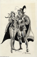 Original Comic Art:Splash Pages, Rudy Nebres - Dr. Strange and Clea Illustration Original Art(Marvel, 1977). Rudy Nebres embellishes his smooth ink-brush li...
