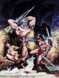 "Original Comic Art:Covers, Earl Norem - Savage Sword of Conan #28 Cover Original Art (Marvel.1978). The savage Cimmerian battles the ""Fiend in the Hau..."